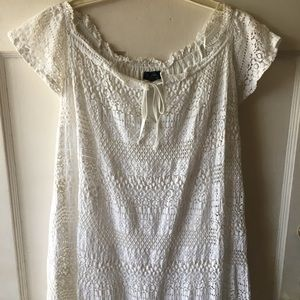 Topshop Flowy White Loose T-Shirt Dress Size 10